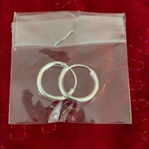 Small hoop earrings 1/2 inch silver